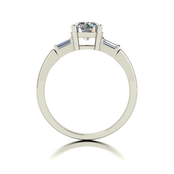 1.25ct (1x 6.5mm Rnd & 2x 4x2mm Bag) Round & Baguette Moissanite Set Cluster Ring