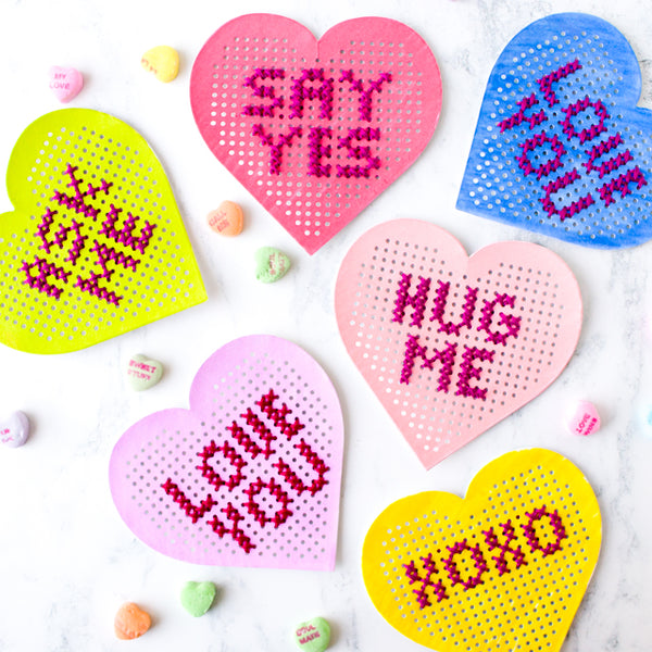 Cross stitch conversation hearts