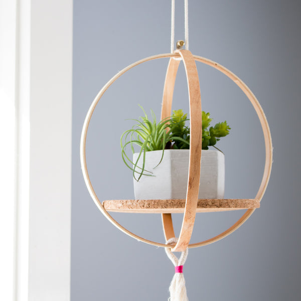 How to make a hanging shelf out of embroidery hoops