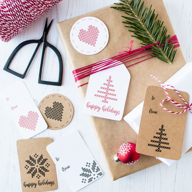 Free printable cross-stitch inspired gift tags