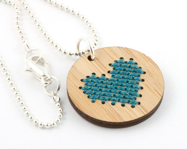 DIY heart cross stitch necklace kit