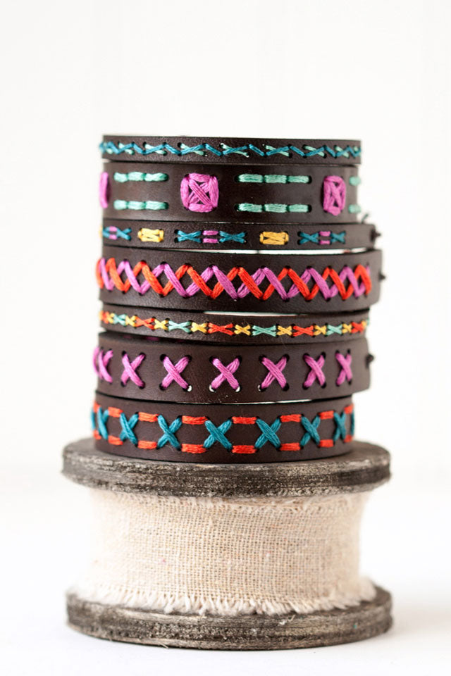 DIY Leather bracelet embroidery kits by Red Gate Stitchery