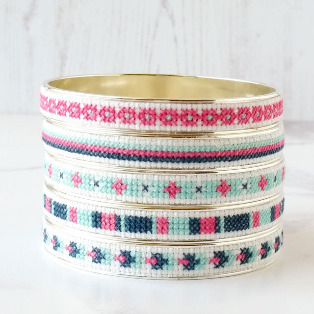 Cross stitch sterling silver bangle bracelet kit by Red Gate Stitchery