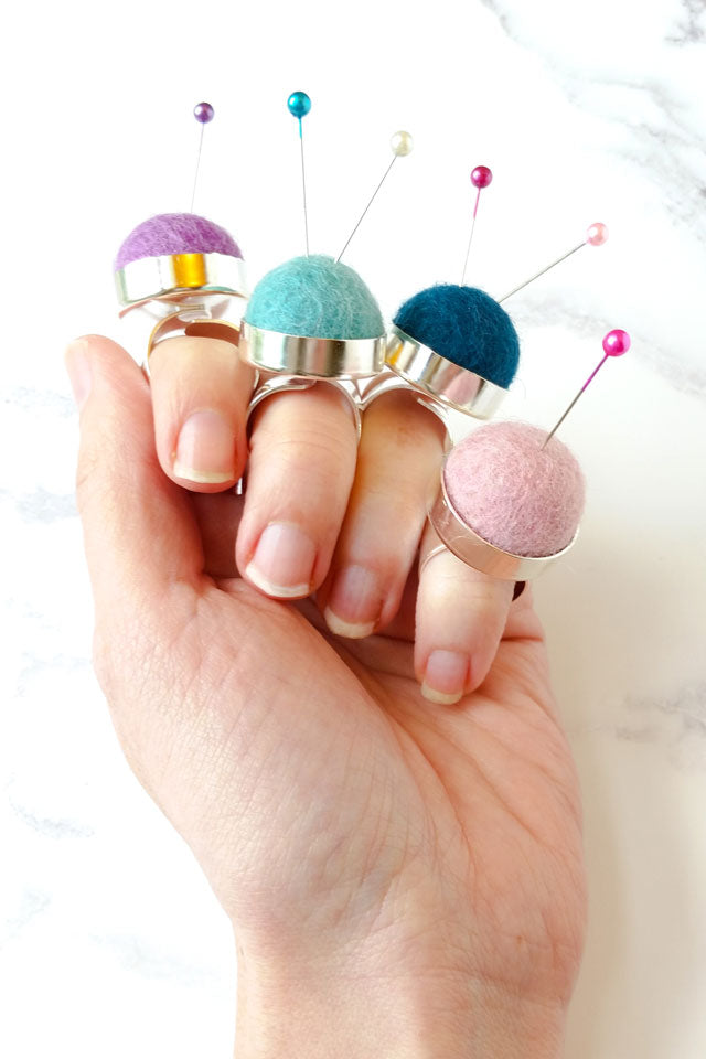 Felt pincushion ring for hand sewing and embroidery