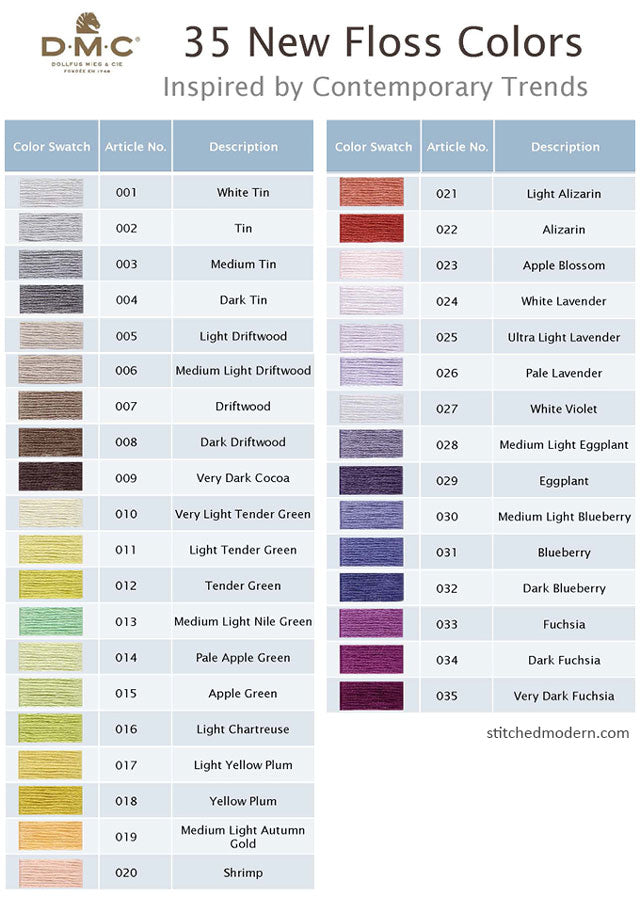 graphic regarding Free Printable Dmc Color Chart identified as 35 contemporary embroidery floss colours towards DMC Sched Progressive