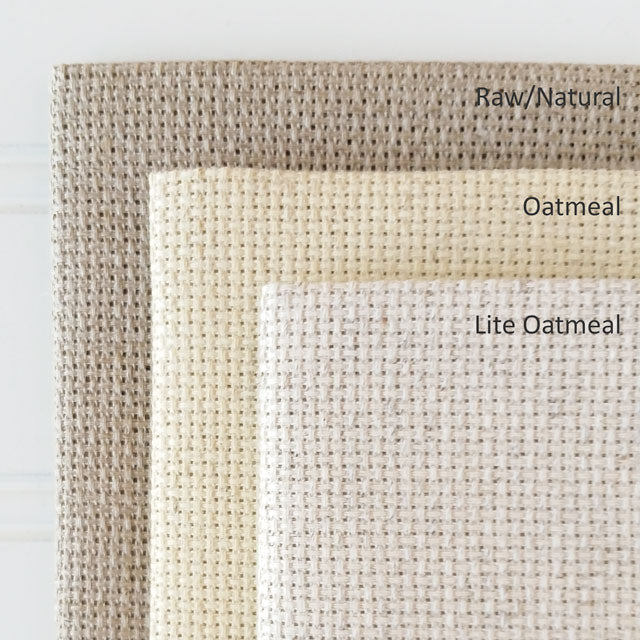 Comparing Aida Fiddler's Cloth fabric shades - Oatmeal, Lite Oatmeal, and Raw Natural