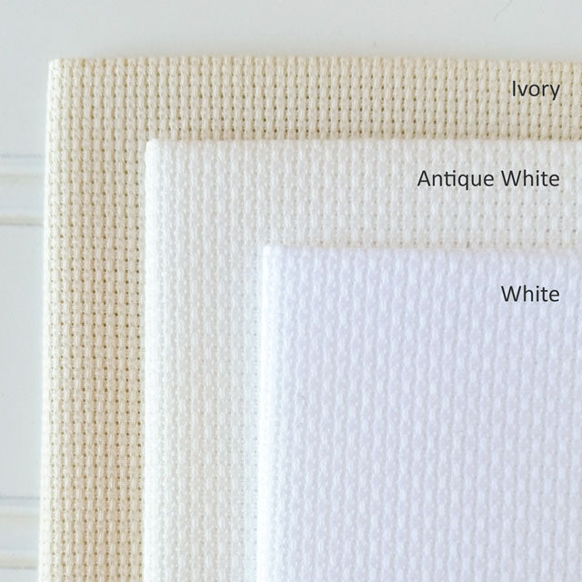 Comparing Aida fabric shades - White, Antique White, and Ivory