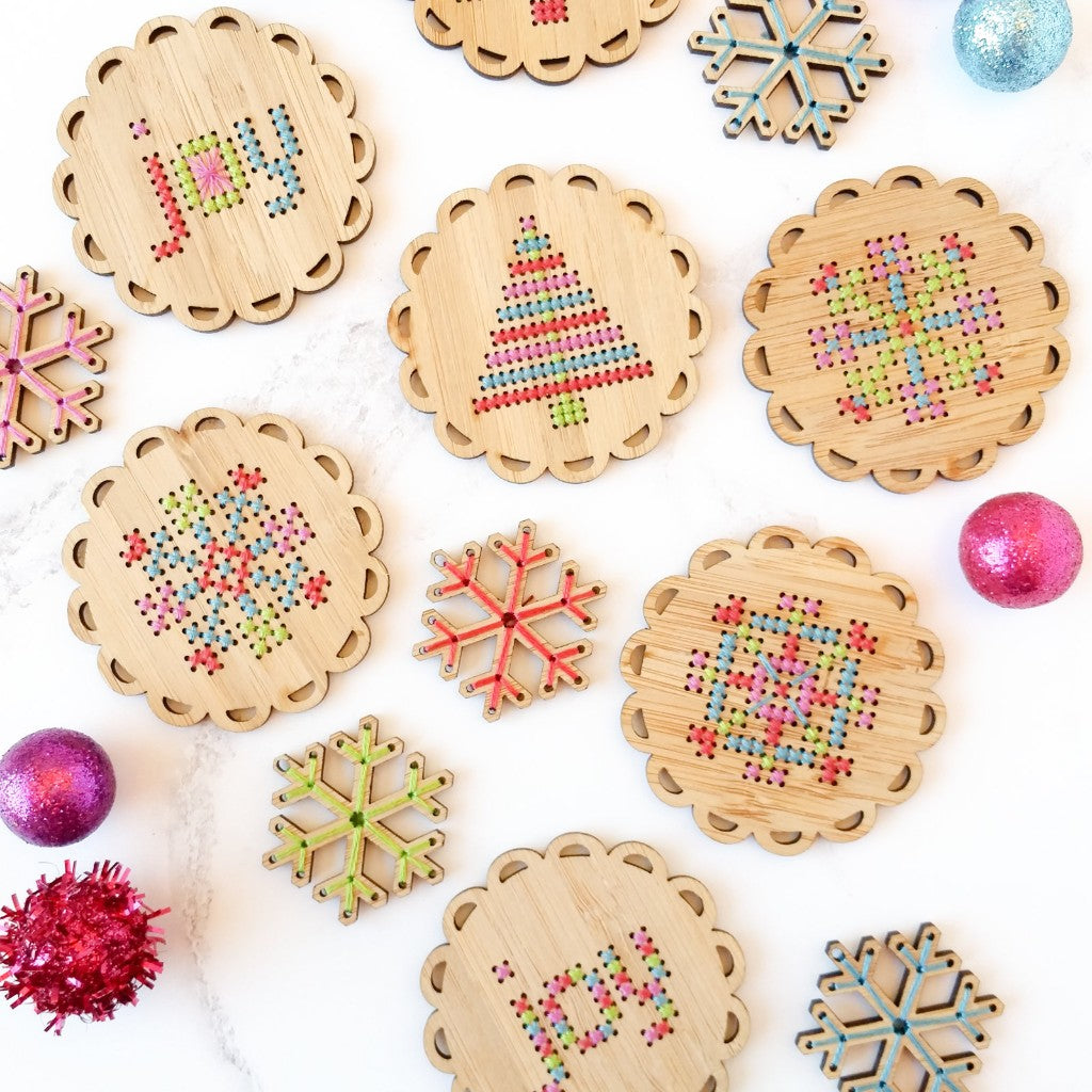 Bamboo cross stitch ornament kit by Red Gate Stitchery