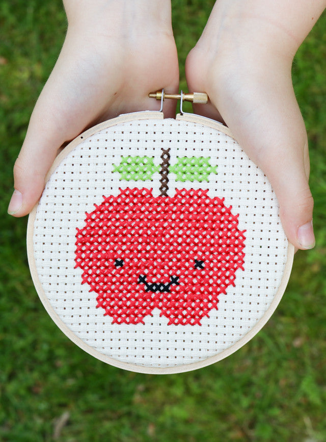 Cross stitch kawaii apple smile happy
