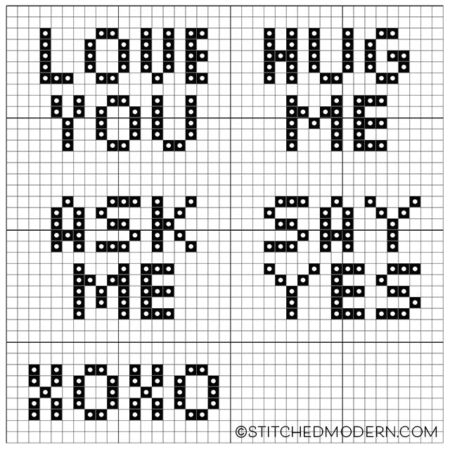 Free cross stitch pattern for Valentine's Day