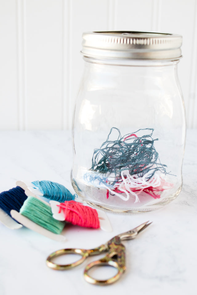 Save bits of embroidery thread in an ort jar