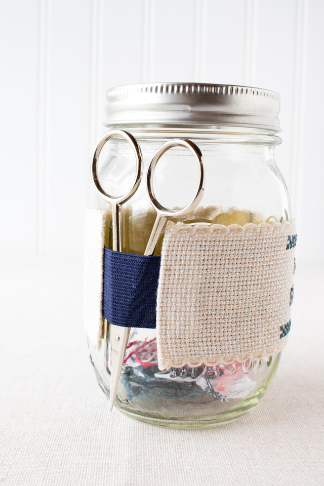 How to make an ort jar and scissor holder for cross stitch and embroidery