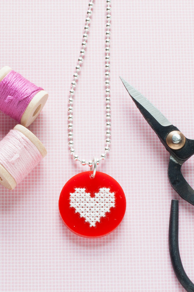 Tips for cross stitching on wood and acrylic pendant blanks