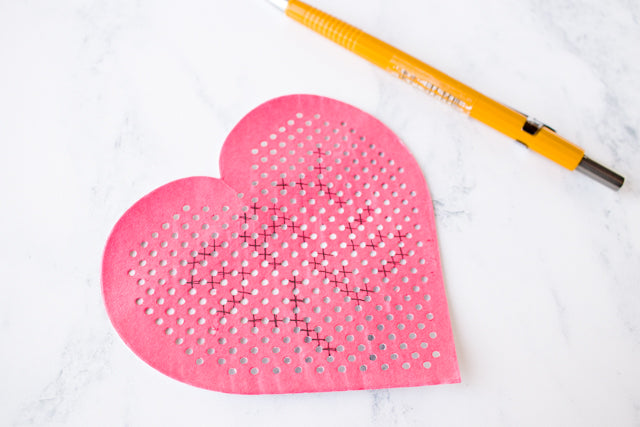 DIY cross stitch conversation hearts for Valentine's Day