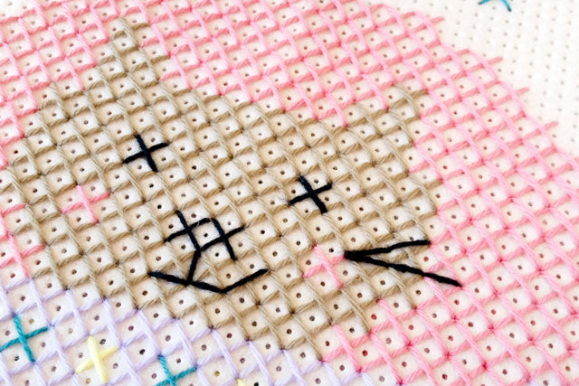 How to Cross stitch on felt pillow cushion with tapestry wool