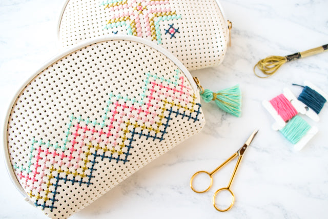 How to embellish a faux leather Target bag with cross stitching