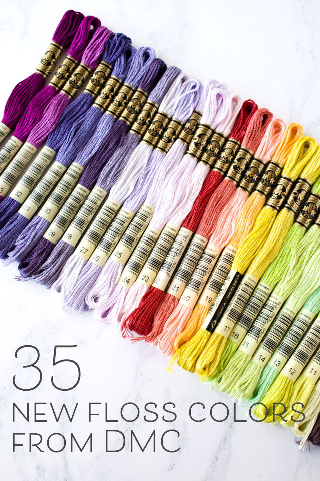 image about Dmc Floss Color Chart Printable known as 35 fresh new embroidery floss hues in opposition to DMC Sched Ground breaking
