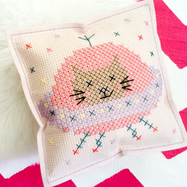 Felt pillow cross stitch kit Spaceship Kitty