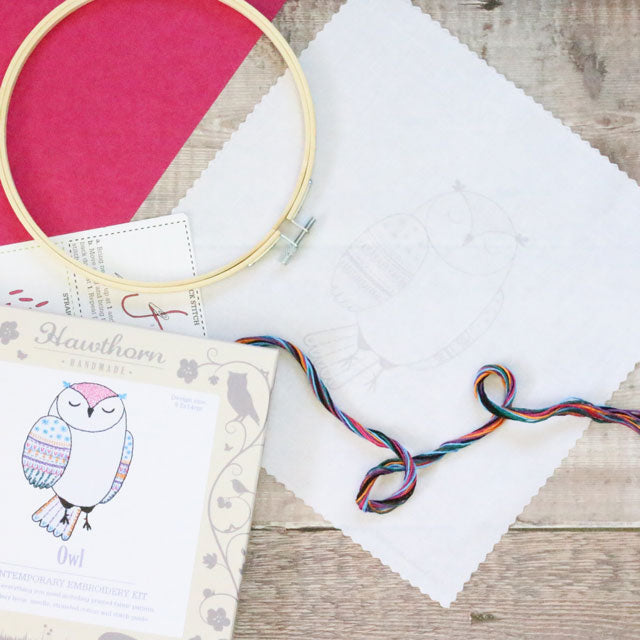 Owl hand embroidery kit by Hawthorn Handmade
