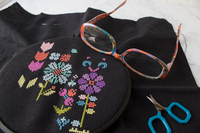 How to cross stitch on black fabric
