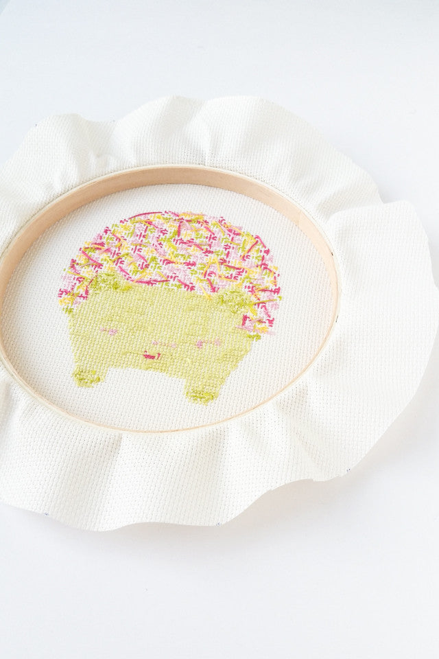 How to frame cross stitch in an embroidery hoop – Stitched Modern