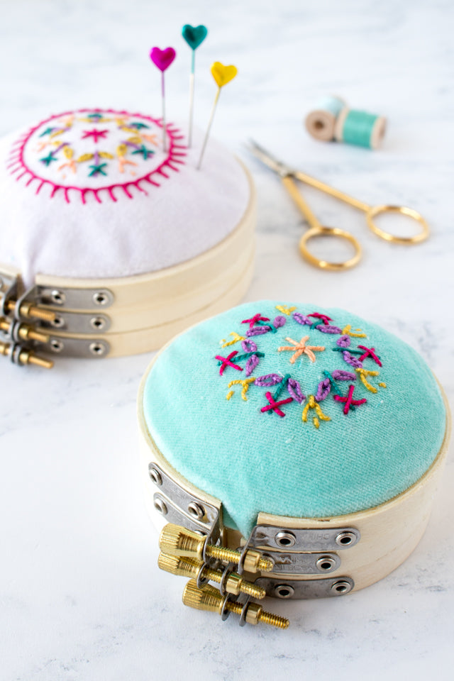 How to make a pretty embroidery hoop pin cushion