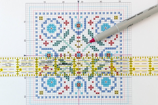 How to find the center of a cross stitch chart