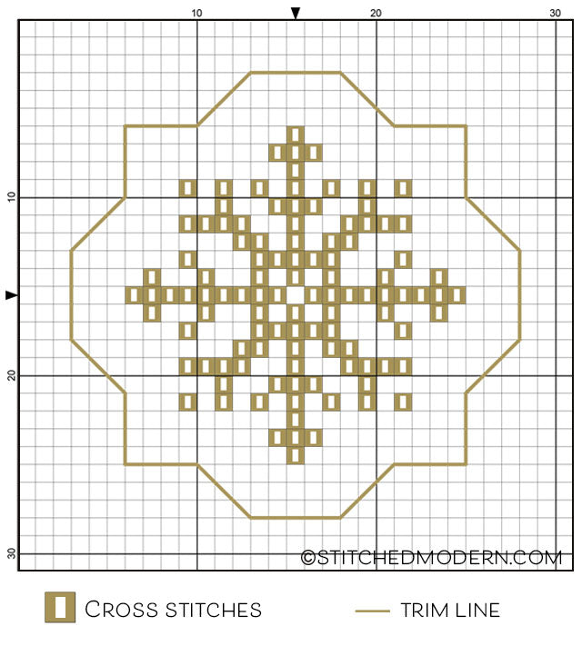 Free cross stitch pattern - metallic snowflakes