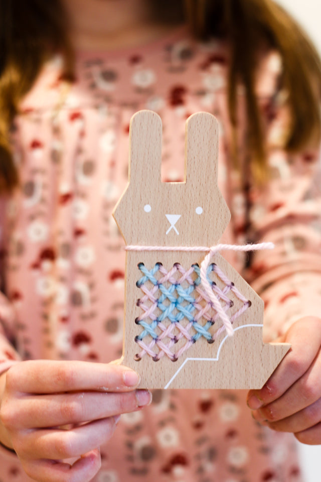 Adorable bunny cross stitch kit for teaching kids to stitch