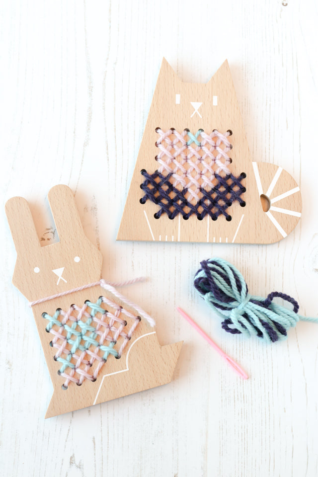 Cross stitch wood bunny and cat - kits by Moon Picnic
