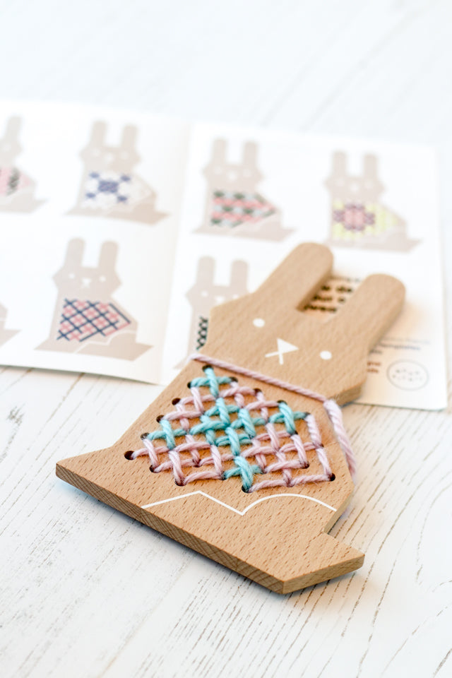 Teach kids to cross stitch with this wood kit by Moon Picnic