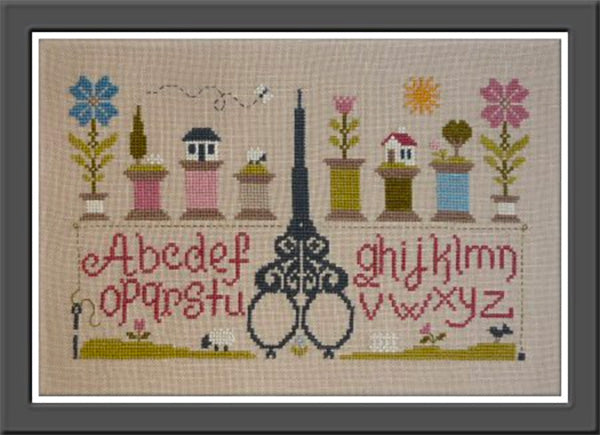 Scissors and Bobbins (Ciseaux and Bobines) Cross Stitch Pattern by Jardin Prive