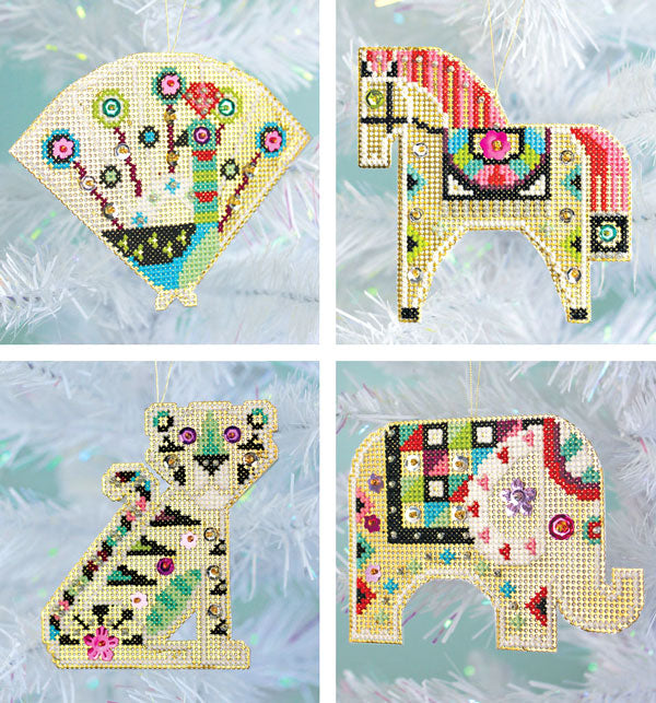 Shiny Little Zoo cross stitch ornament kit by Satsuma Street