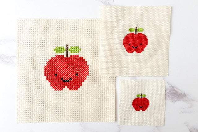Cross stitch on different fabric counts