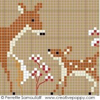 Mother and Baby Animals in Winter Cross Stitch Pattern