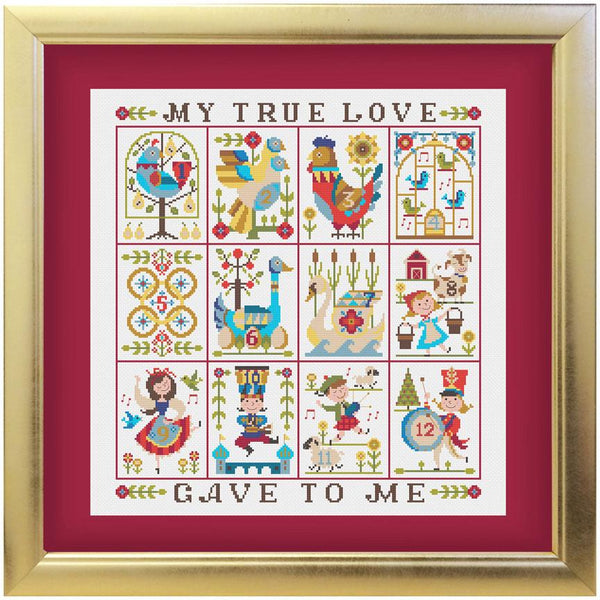 Twelve Days of Christmas Cross Stitch Sampler and Ornament Pattern