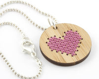 Cross Stitch Necklace Kit - Bamboo Heart