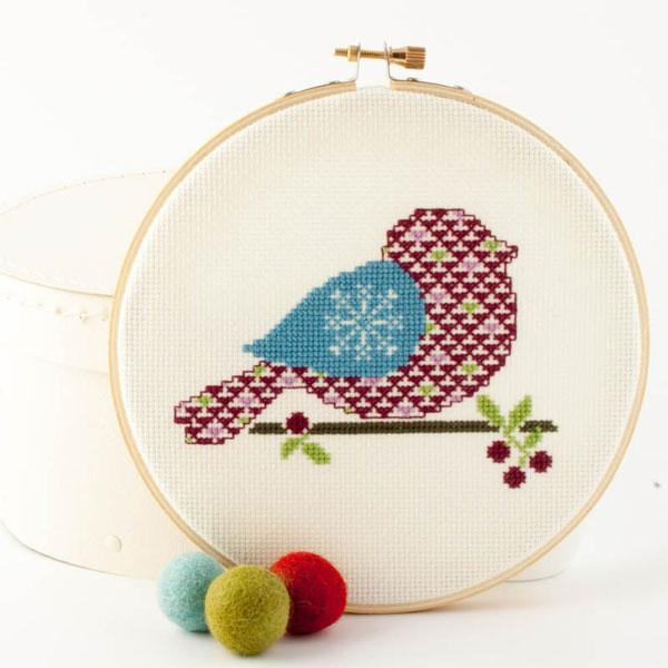 Winter Bird Cross Stitch Kit