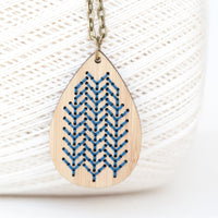 Hand Stitched Necklace Kit - Bamboo Teardrop