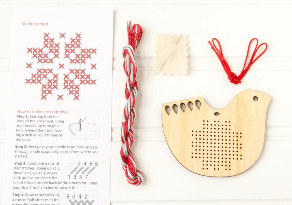 Scandinavian Bird Holiday Ornament Kit