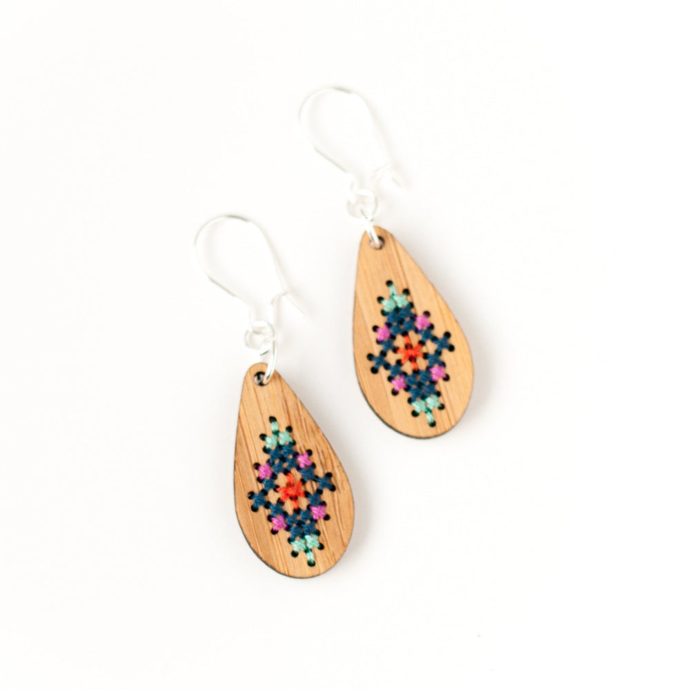 Cross Stitch Earring Kit - Bamboo Teardrop