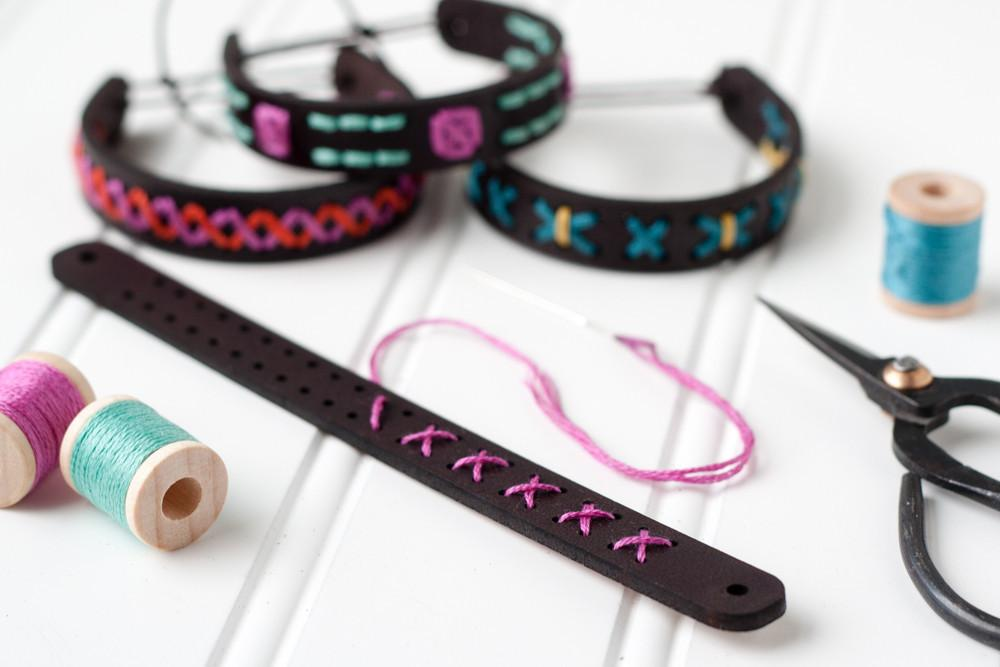 Leather Bracelet Embroidery Kit - Skinny