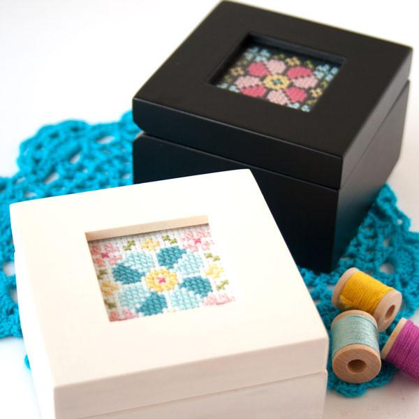 Wood Box with Stitched Insert - Cross Stitch Kit