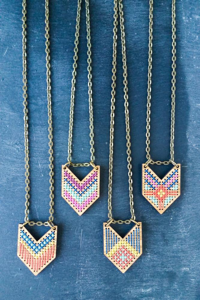 Cross Stitch Necklace Kit - Bamboo Chevron
