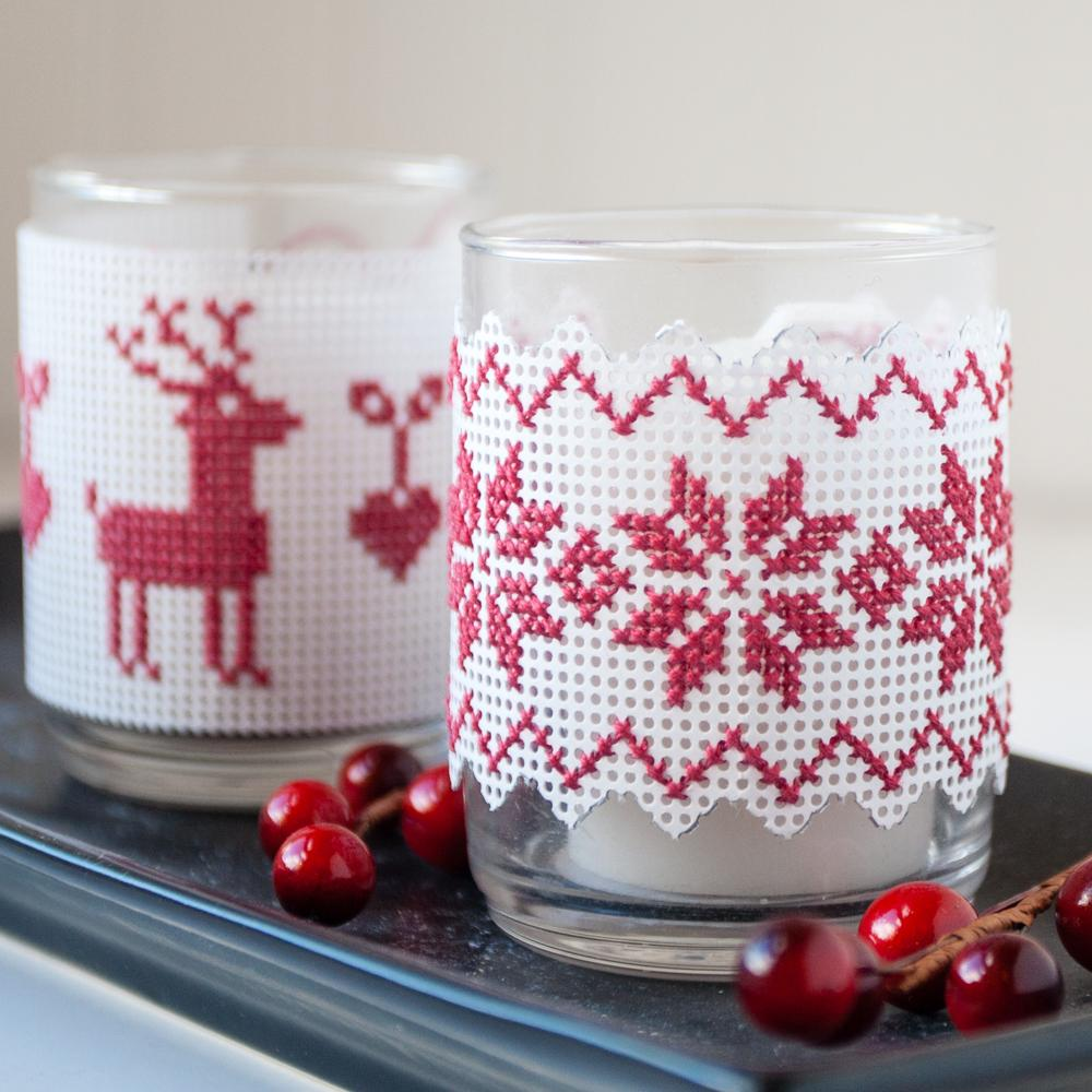 perforated paper cross stitch project votive wrap christmas