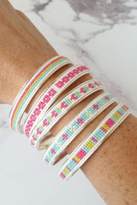 Sterling Silver Cross Stitch Bangle Bracelet Kit - Raspberry