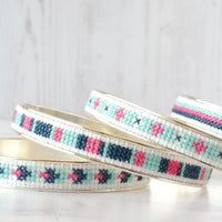 Sterling Silver Cross Stitch Bangle Bracelet Kit - Blueberry