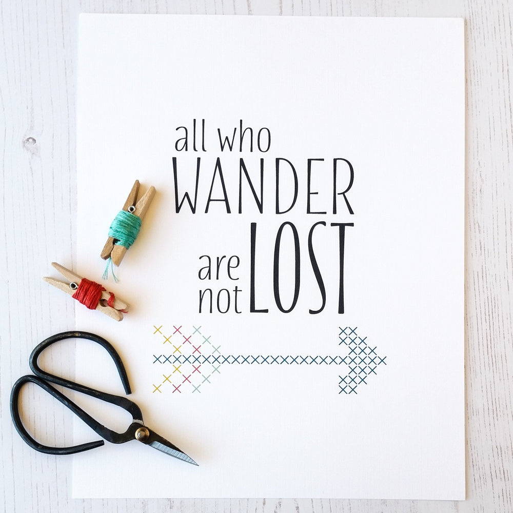 All Who Wander Stitchable Cross Stitch Art Print