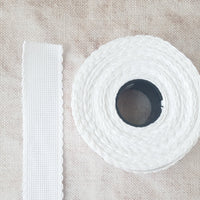 Scallop Edged White Aida Stitching Band - 1-3/16 Inch