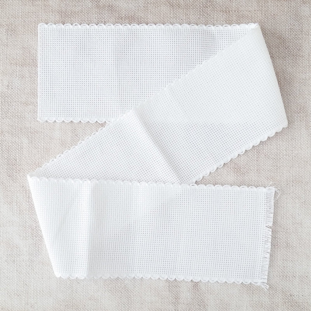 Scallop Edged White Aida Stitching Band - 3 Inch